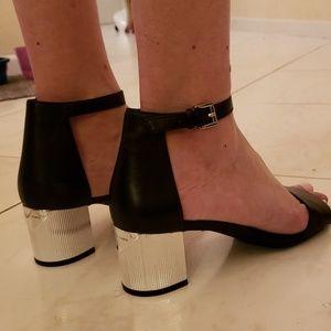 Michael Kors Silver Block Heel Sandals in size 9